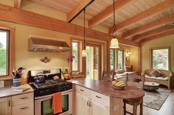 แบบบ้านไม้ชั้นเดียว สไตล์รีสอร์ท ห้องครัว