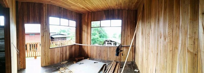 เริิ่มเป็นรูปร่าง บ้านใหม่เป็นบ้านไม้ครึ่งปูนสองชั้นสไตล์ loft